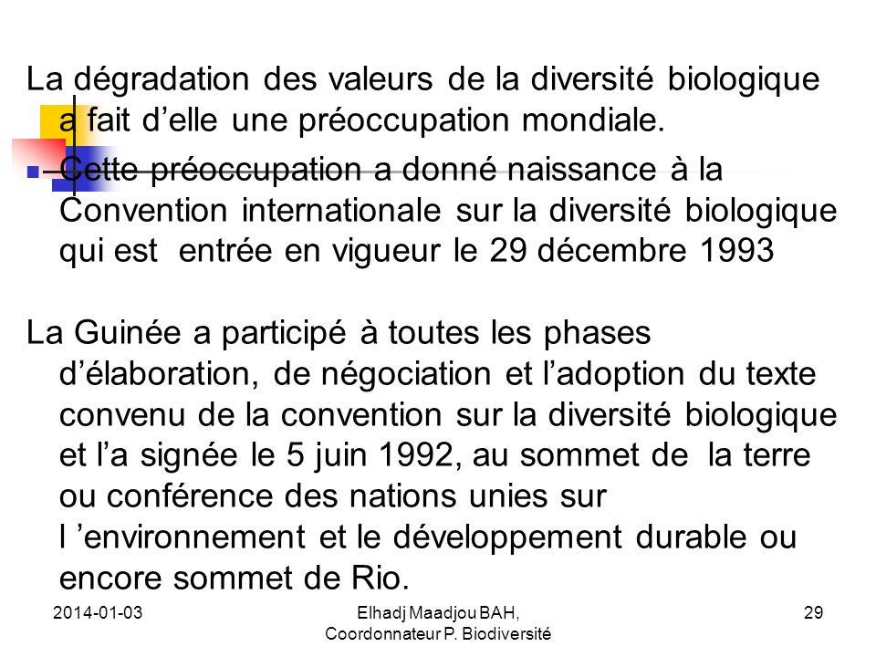 2014-01-03Elhadj Maadjou BAH, Coordonnateur P. Biodiversité 29 La dégradation des valeurs de la diversité biologique a fait delle une préoccupation mo