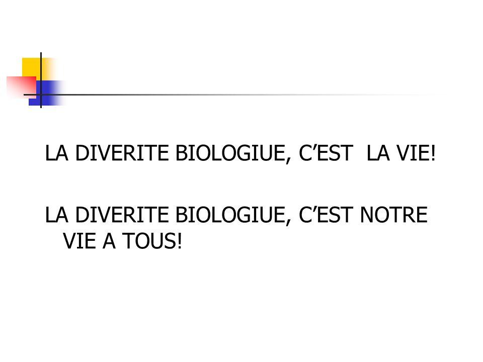 LA DIVERITE BIOLOGIUE, CEST LA VIE! LA DIVERITE BIOLOGIUE, CEST NOTRE VIE A TOUS!
