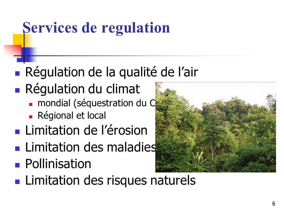 6 Services de regulation Régulation de la qualité de lair Régulation du climat mondial (séquestration du CO 2 ) Régional et local Limitation de lérosion Limitation des maladies Pollinisation Limitation des risques naturels