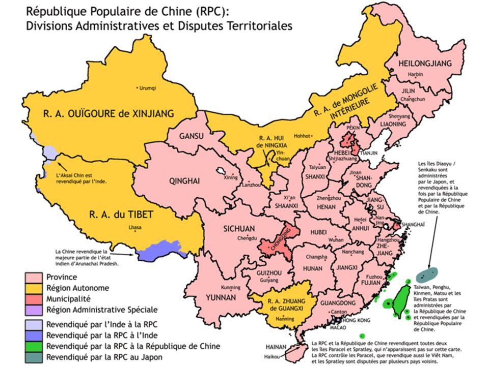 Les 22 provinces Anhui · Fujian · Gansu · Guangdong · Guizhou · Hainan · Hebei · Heilongjiang · Henan · Hubei · Hunan · Jiangsu · Jiangxi · Jilin · Liaoning · Qinghai · Shaanxi · Shandong · Shanxi · Sichuan · Yunnan · Zhejiang Les 5 régions autonomes : Guangxi · Mongolie-Intérieure · Ningxia · Xinjiang · Xizang (Tibet) Les 4 municipalités : Beijing · Chongqing · Shanghai · Tianjin Les 2 régions administratives spéciales : Hong Kong · Macao Note : le gouvernement de République populaire de Chine considère Taïwan, de facto indépendante depuis 1949, comme la 23e province.
