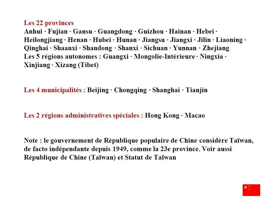 Les 22 provinces Anhui · Fujian · Gansu · Guangdong · Guizhou · Hainan · Hebei · Heilongjiang · Henan · Hubei · Hunan · Jiangsu · Jiangxi · Jilin · Li