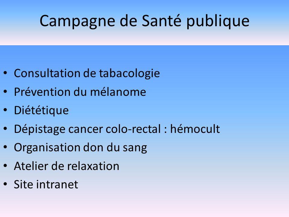 Campagne de Santé publique Consultation de tabacologie Prévention du mélanome Diététique Dépistage cancer colo-rectal : hémocult Organisation don du s