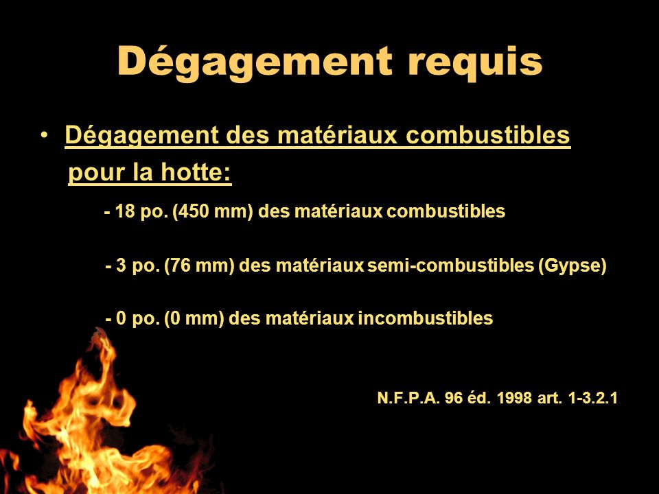 Dégagement requis Dégagement des matériaux combustibles pour la hotte: - 18 po. (450 mm) des matériaux combustibles - 3 po. (76 mm) des matériaux semi