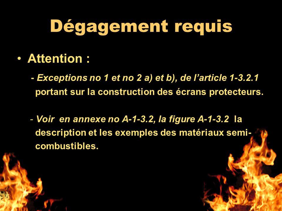 Dégagement requis Attention : - Exceptions no 1 et no 2 a) et b), de larticle 1-3.2.1 portant sur la construction des écrans protecteurs. - Voir en an