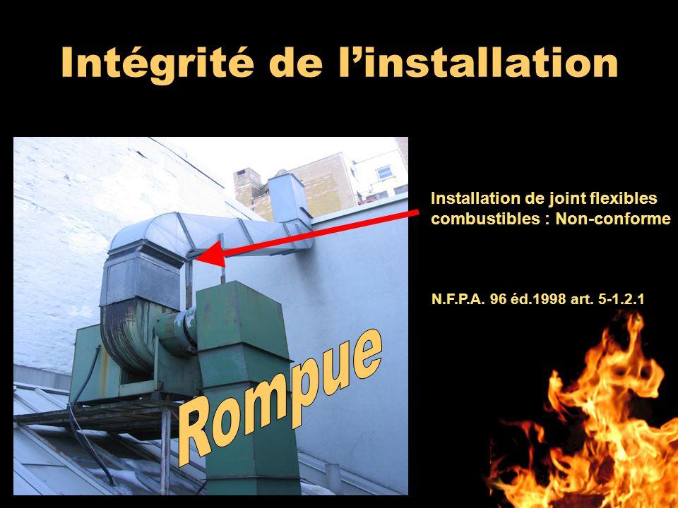 Intégrité de linstallation N.F.P.A. 96 éd.1998 art. 5-1.2.1 Installation de joint flexibles combustibles : Non-conforme