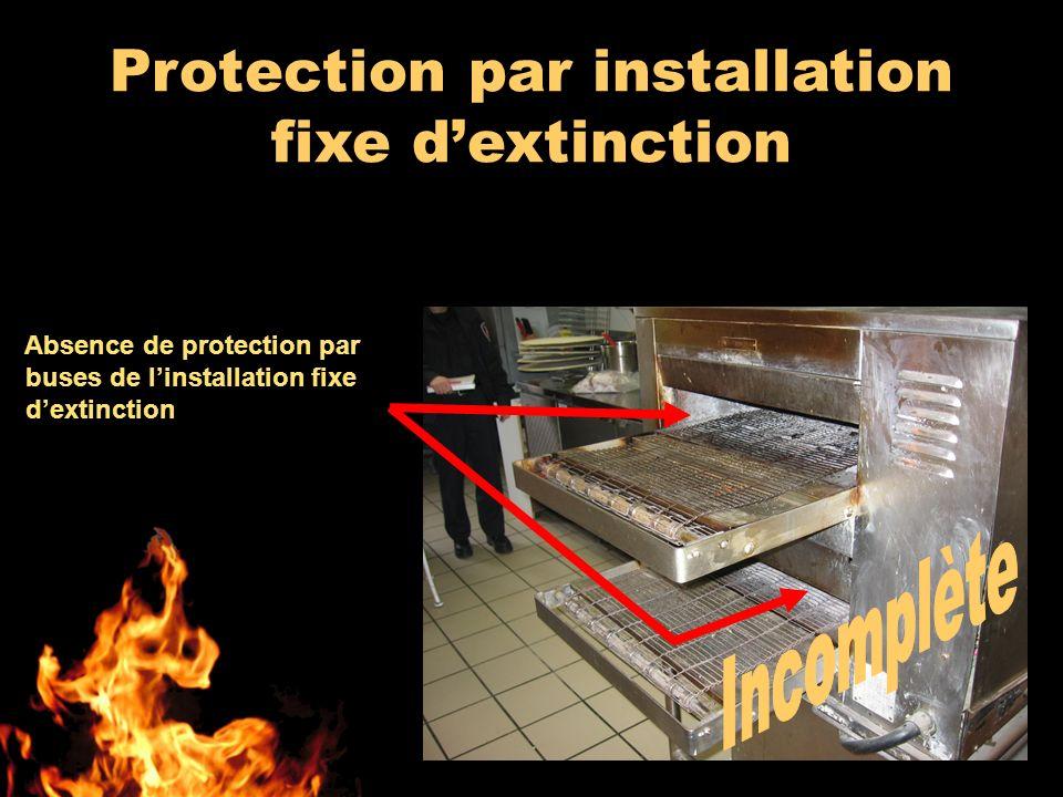 Absence de protection par buses de linstallation fixe dextinction Protection par installation fixe dextinction