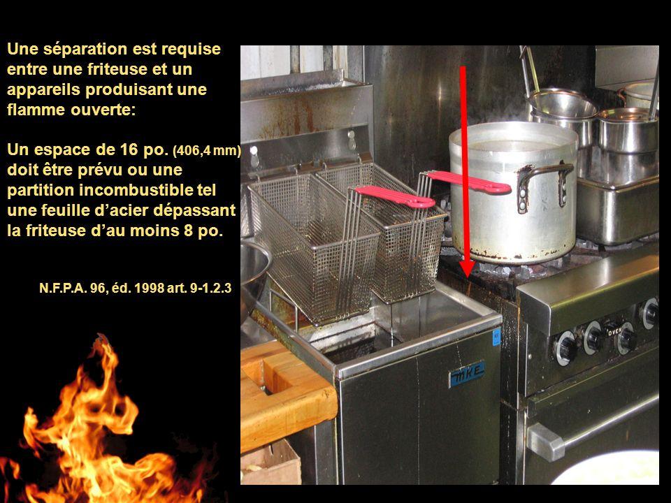 Une séparation est requise entre une friteuse et un appareils produisant une flamme ouverte: Un espace de 16 po. (406,4 mm) doit être prévu ou une par