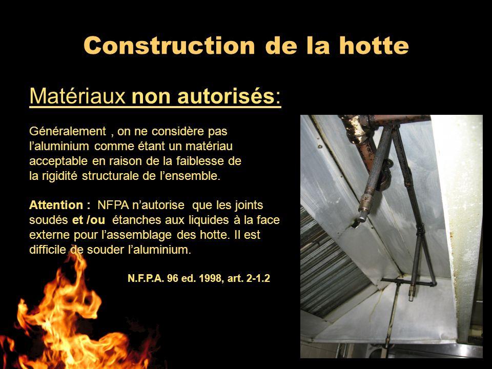 Construction de la hotte Matériaux non autorisés: Généralement, on ne considère pas laluminium comme étant un matériau acceptable en raison de la faib