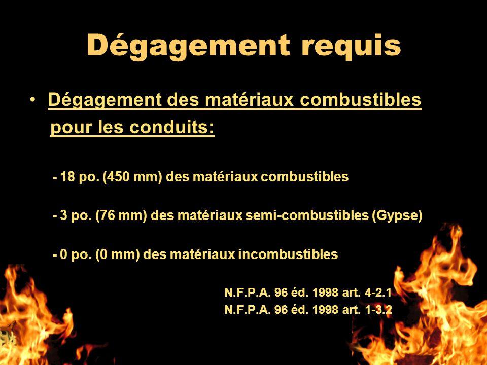 Dégagement requis Dégagement des matériaux combustibles pour les conduits: - 18 po. (450 mm) des matériaux combustibles - 3 po. (76 mm) des matériaux