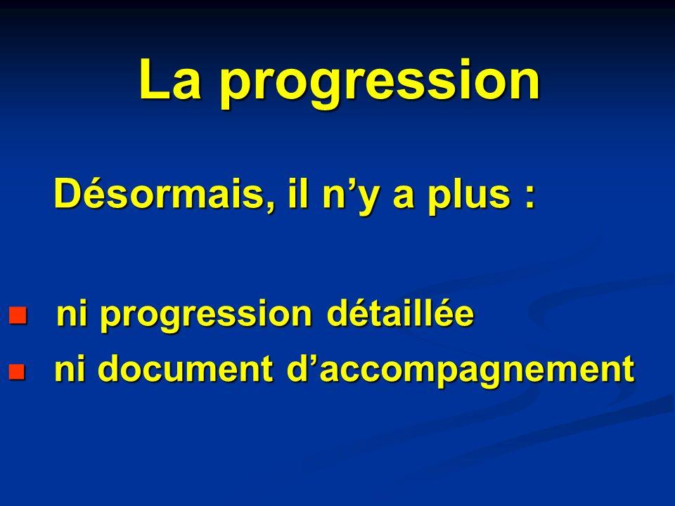 Désormais, il ny a plus : Désormais, il ny a plus : ni progression détaillée ni progression détaillée ni document daccompagnement ni document daccompa