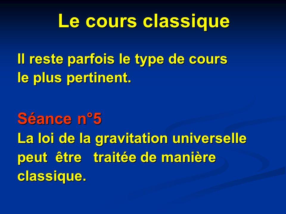 Il reste parfois le type de cours le plus pertinent. Séance n°5 La loi de la gravitation universelle peut être traitée de manière classique. Le cours