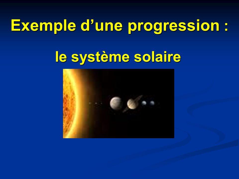 Exemple dune progression : le système solaire