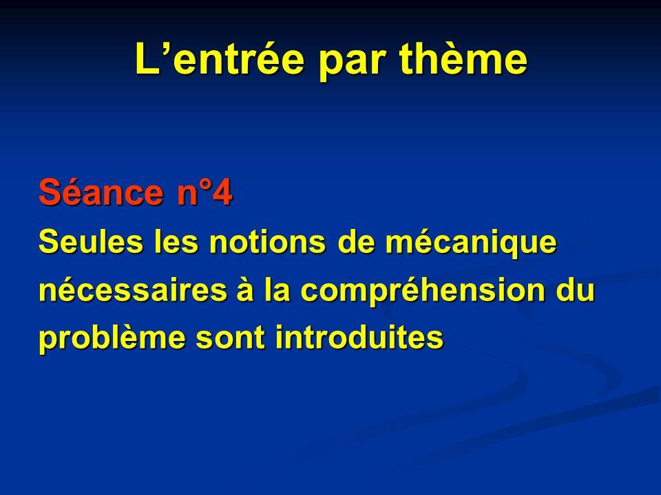 Lentrée par thème Séance n°4 Seules les notions de mécanique nécessaires à la compréhension du problème sont introduites