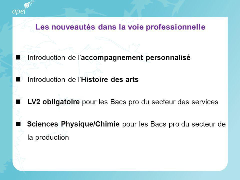 Introduction de laccompagnement personnalisé Introduction de lHistoire des arts LV2 obligatoire pour les Bacs pro du secteur des services Sciences Phy