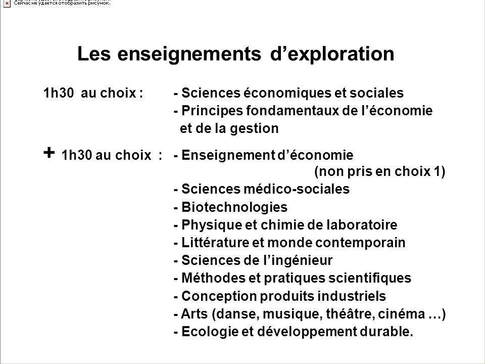 1h30 au choix : - Sciences économiques et sociales - Principes fondamentaux de léconomie et de la gestion + 1h30 au choix : - Enseignement déconomie (