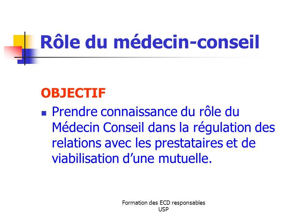 Formation des ECD responsables USP Rôle du médecin-conseil OBJECTIF Prendre connaissance du rôle du Médecin Conseil dans la régulation des relations a