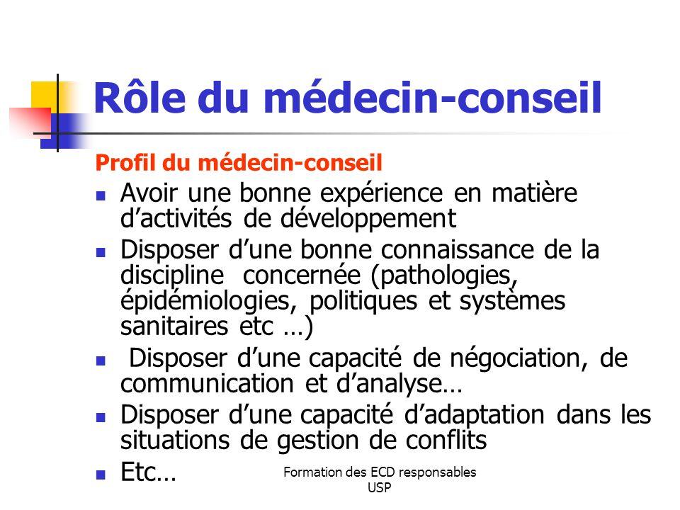 Formation des ECD responsables USP Rôle du médecin-conseil Profil du médecin-conseil Avoir une bonne expérience en matière dactivités de développement