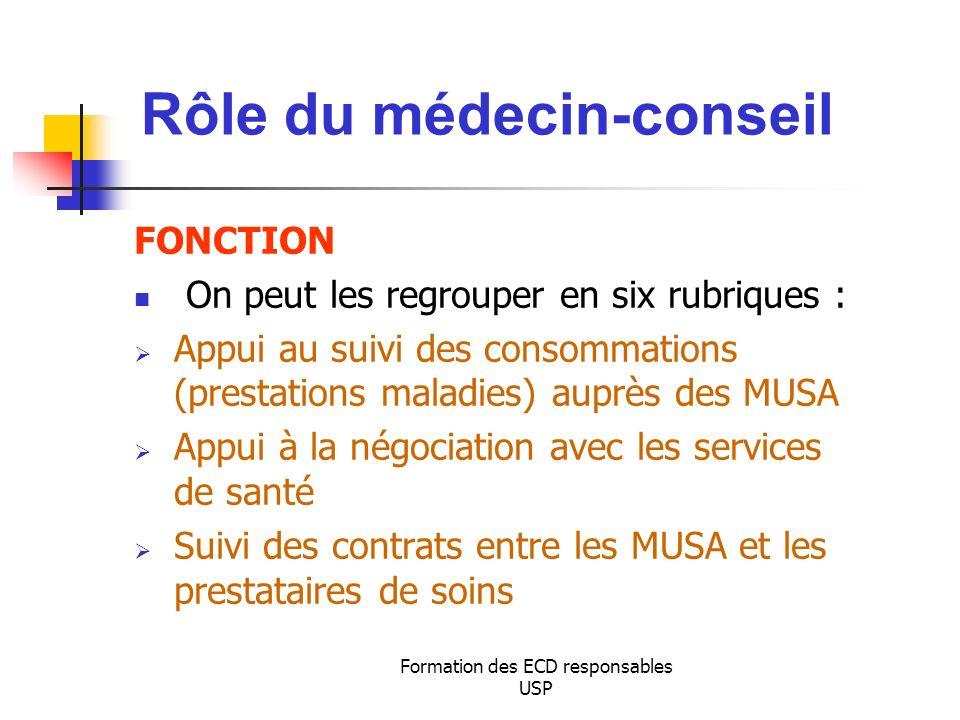 Formation des ECD responsables USP FONCTION On peut les regrouper en six rubriques : Appui au suivi des consommations (prestations maladies) auprès de