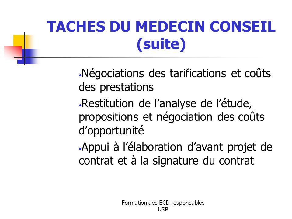 Formation des ECD responsables USP TACHES DU MEDECIN CONSEIL (suite) Négociations des tarifications et coûts des prestations Restitution de lanalyse d