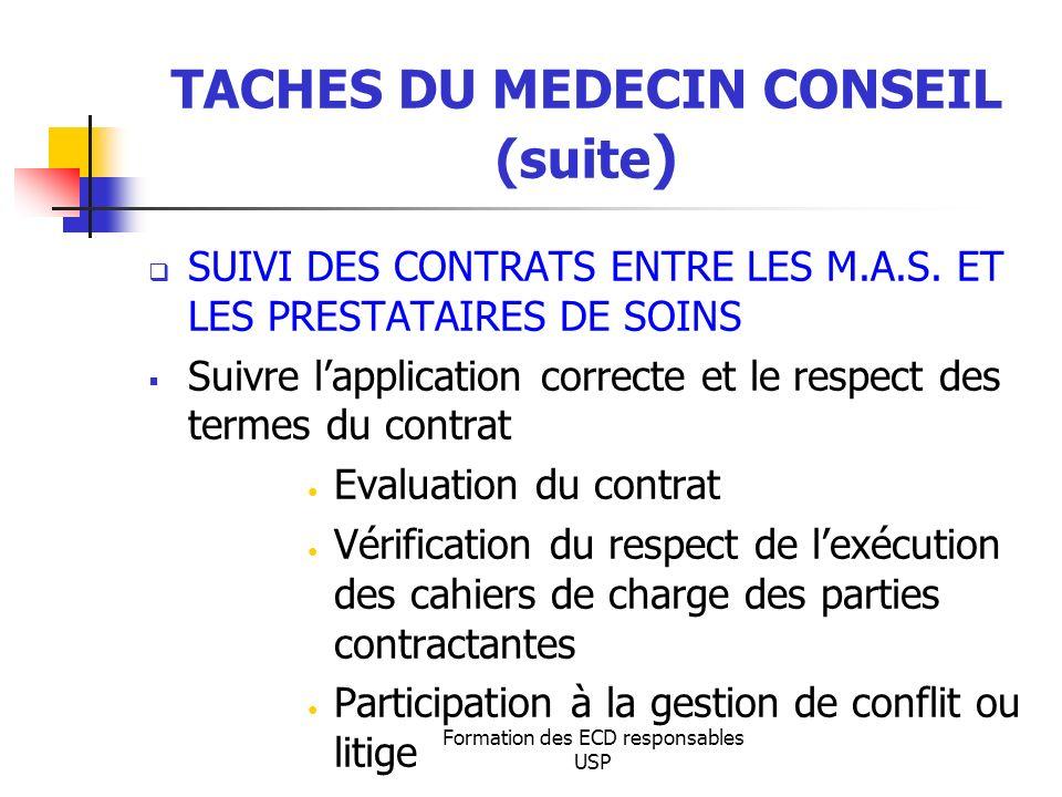 Formation des ECD responsables USP TACHES DU MEDECIN CONSEIL (suite ) SUIVI DES CONTRATS ENTRE LES M.A.S. ET LES PRESTATAIRES DE SOINS Suivre lapplica