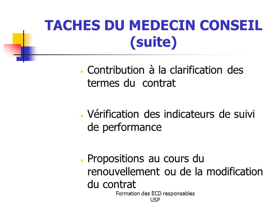 Formation des ECD responsables USP TACHES DU MEDECIN CONSEIL (suite) Contribution à la clarification des termes du contrat Vérification des indicateur