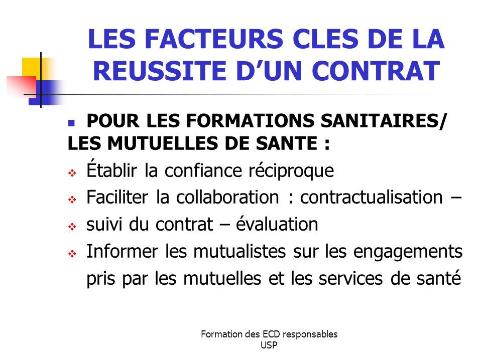 Formation des ECD responsables USP LES FACTEURS CLES DE LA REUSSITE DUN CONTRAT POUR LES FORMATIONS SANITAIRES/ LES MUTUELLES DE SANTE : Établir la co