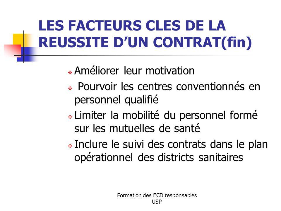 Formation des ECD responsables USP LES FACTEURS CLES DE LA REUSSITE DUN CONTRAT(fin) Améliorer leur motivation Pourvoir les centres conventionnés en p