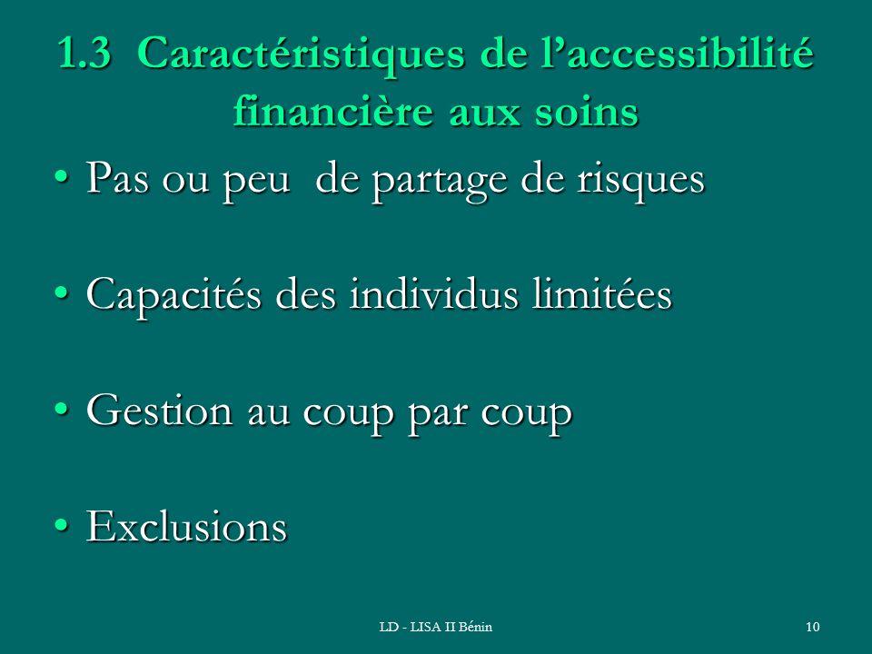 LD - LISA II Bénin10 1.3 Caractéristiques de laccessibilité financière aux soins Pas ou peu de partage de risquesPas ou peu de partage de risques Capa