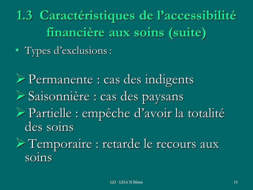LD - LISA II Bénin11 1.3 Caractéristiques de laccessibilité financière aux soins (suite) Types dexclusions :Types dexclusions : Permanente : cas des i