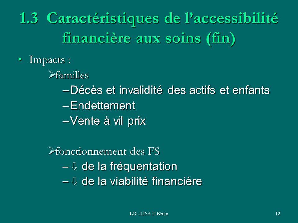 LD - LISA II Bénin12 1.3 Caractéristiques de laccessibilité financière aux soins (fin) Impacts :Impacts : familles familles –Décès et invalidité des a