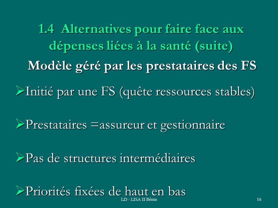 LD - LISA II Bénin16 Modèle géré par les prestataires des FS Initié par une FS (quête ressources stables) Initié par une FS (quête ressources stables)
