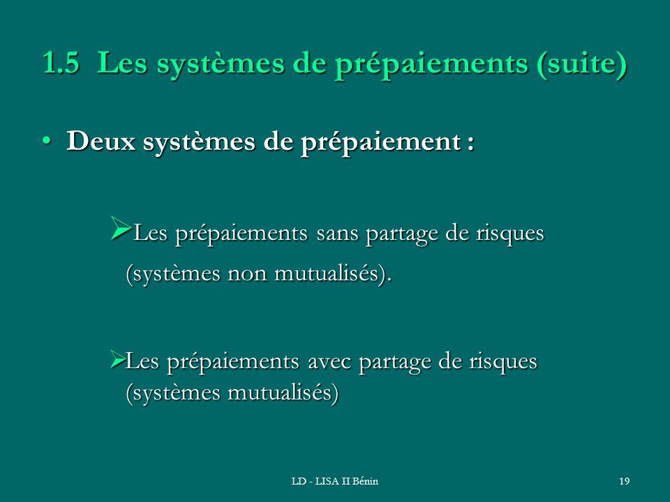 LD - LISA II Bénin19 1.5 Les systèmes de prépaiements (suite) Deux systèmes de prépaiement :Deux systèmes de prépaiement : Les prépaiements sans parta