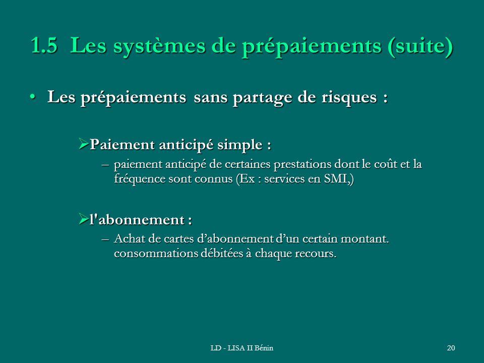 LD - LISA II Bénin20 1.5 Les systèmes de prépaiements (suite) Les prépaiements sans partage de risques :Les prépaiements sans partage de risques : Pai