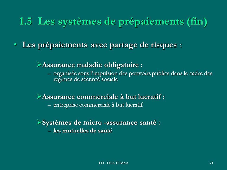 LD - LISA II Bénin21 1.5 Les systèmes de prépaiements (fin) Les prépaiements avec partage de risques :Les prépaiements avec partage de risques : Assur