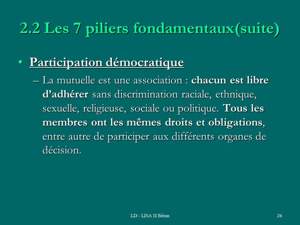 LD - LISA II Bénin26 2.2 Les 7 piliers fondamentaux(suite) Participation démocratiqueParticipation démocratique –La mutuelle est une association : cha