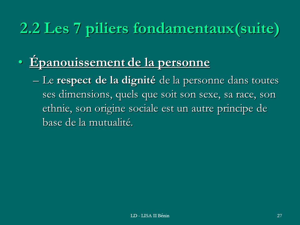 LD - LISA II Bénin27 2.2 Les 7 piliers fondamentaux(suite) Épanouissement de la personneÉpanouissement de la personne –Le respect de la dignité de la