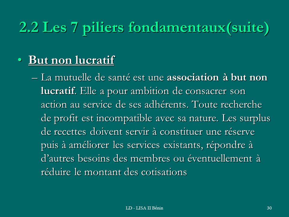 LD - LISA II Bénin30 2.2 Les 7 piliers fondamentaux(suite) But non lucratifBut non lucratif –La mutuelle de santé est une association à but non lucrat