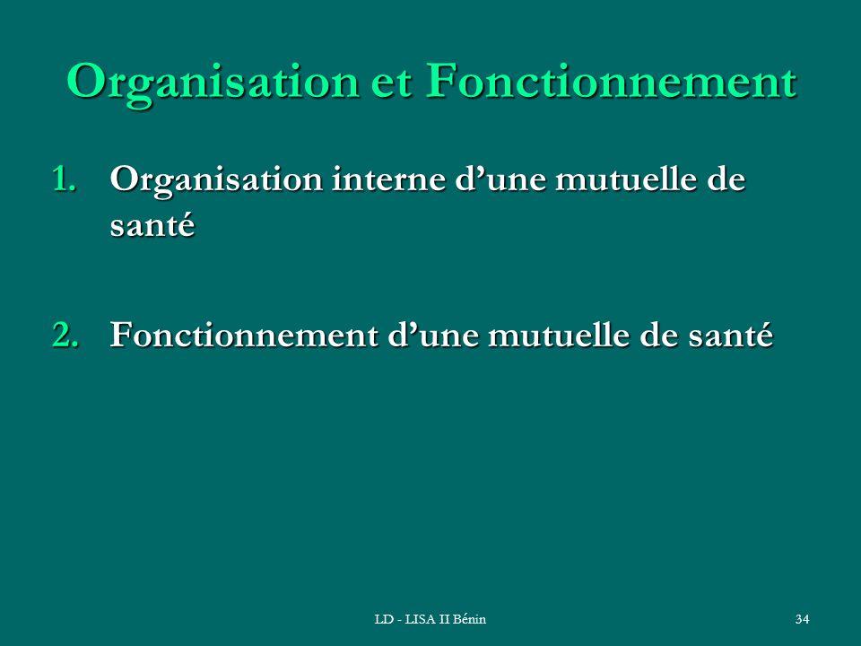 LD - LISA II Bénin34 Organisation et Fonctionnement 1.Organisation interne dune mutuelle de santé 2.Fonctionnement dune mutuelle de santé