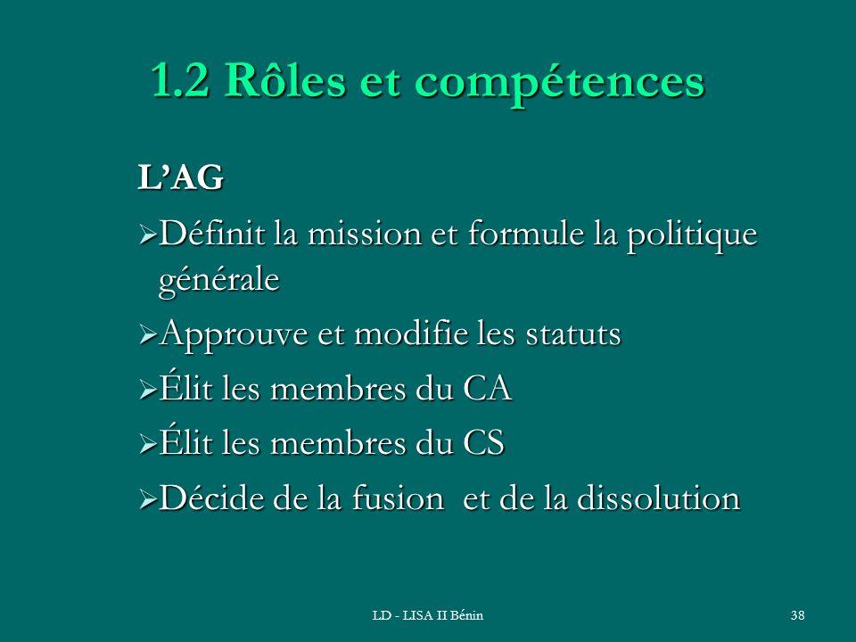 LD - LISA II Bénin38 1.2 Rôles et compétences LAG Définit la mission et formule la politique générale Définit la mission et formule la politique génér