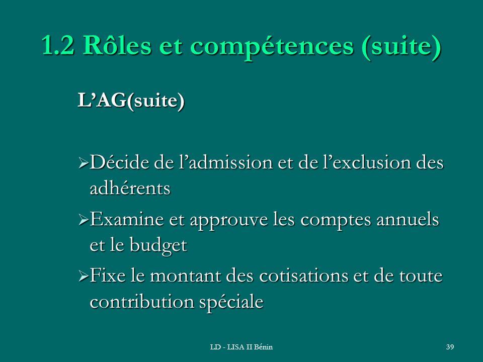 LD - LISA II Bénin39 1.2 Rôles et compétences (suite) LAG(suite) Décide de ladmission et de lexclusion des adhérents Décide de ladmission et de lexclu