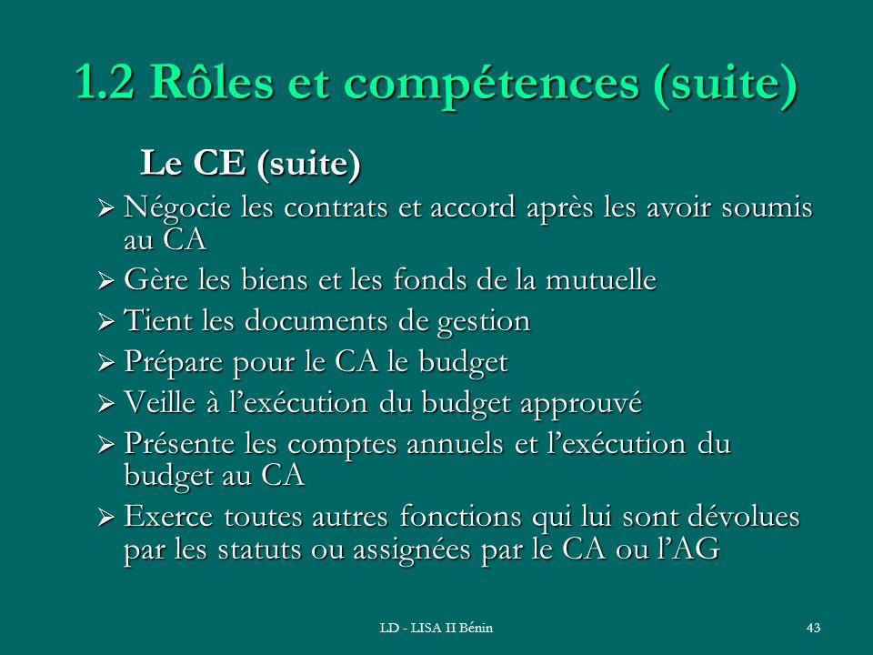 LD - LISA II Bénin43 1.2 Rôles et compétences (suite) Le CE (suite) Négocie les contrats et accord après les avoir soumis au CA Négocie les contrats e