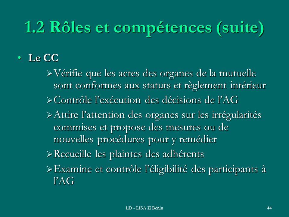 LD - LISA II Bénin44 1.2 Rôles et compétences (suite) Le CCLe CC Vérifie que les actes des organes de la mutuelle sont conformes aux statuts et règlem