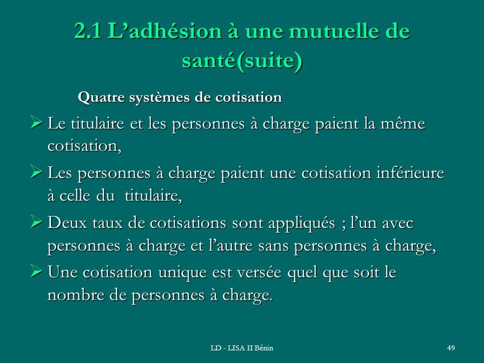 LD - LISA II Bénin49 2.1 Ladhésion à une mutuelle de santé(suite) Quatre systèmes de cotisation Quatre systèmes de cotisation Le titulaire et les pers