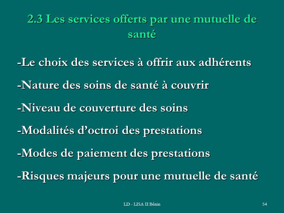 LD - LISA II Bénin54 2.3 Les services offerts par une mutuelle de santé -Le choix des services à offrir aux adhérents -Nature des soins de santé à cou