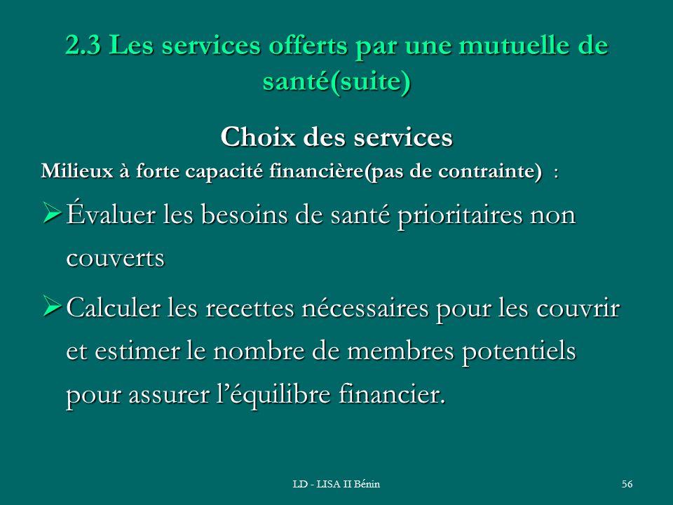 LD - LISA II Bénin56 2.3 Les services offerts par une mutuelle de santé(suite) Choix des services Milieux à forte capacité financière(pas de contraint