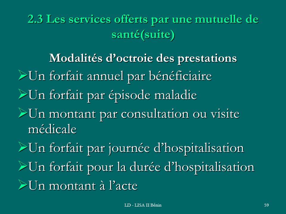 LD - LISA II Bénin59 2.3 Les services offerts par une mutuelle de santé(suite) Modalités doctroie des prestations Un forfait annuel par bénéficiaire U