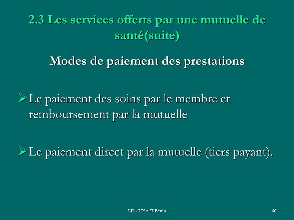 LD - LISA II Bénin60 2.3 Les services offerts par une mutuelle de santé(suite) Modes de paiement des prestations Le paiement des soins par le membre e