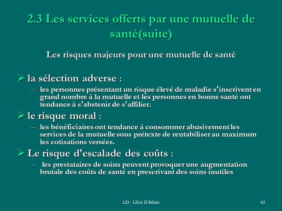 LD - LISA II Bénin62 2.3 Les services offerts par une mutuelle de santé(suite) Les risques majeurs pour une mutuelle de santé la sélection adverse : l