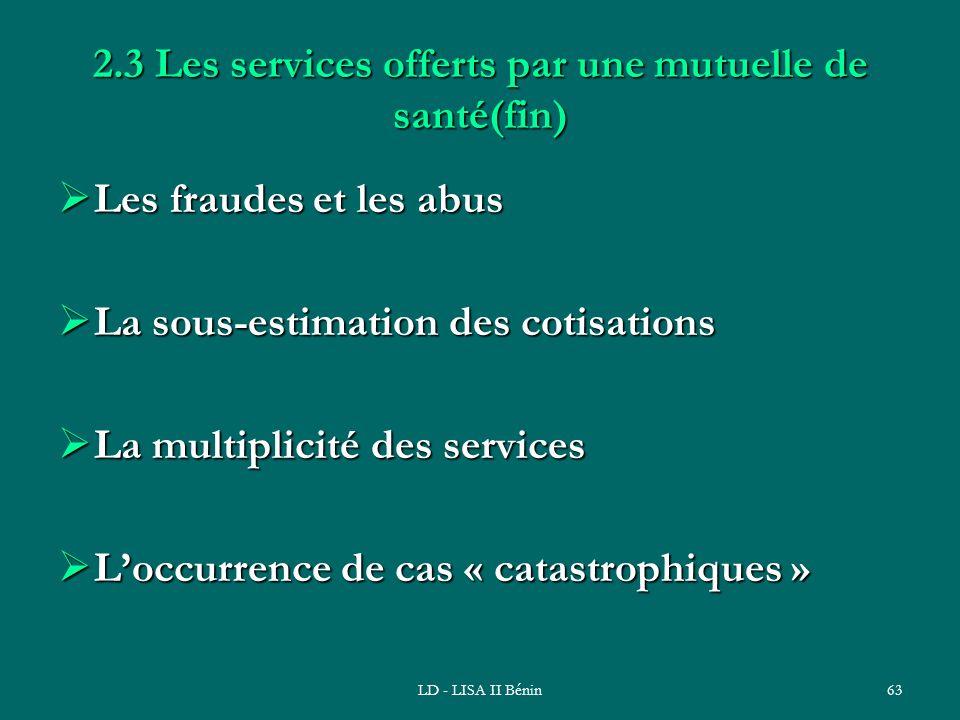 LD - LISA II Bénin63 2.3 Les services offerts par une mutuelle de santé(fin) Les fraudes et les abus Les fraudes et les abus La sous-estimation des co