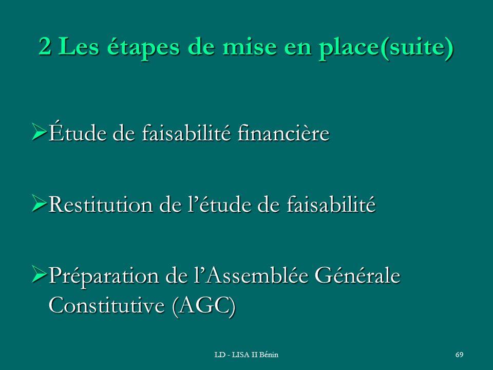 LD - LISA II Bénin69 2 Les étapes de mise en place(suite) Étude de faisabilité financière Étude de faisabilité financière Restitution de létude de fai